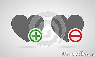 Hearts with plus and minus marks. Vector illustration. Cartoon Illustration