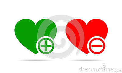Hearts with plus and minus marks. Vector illustration. Cartoon Illustration