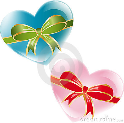 Hearts with ribbons