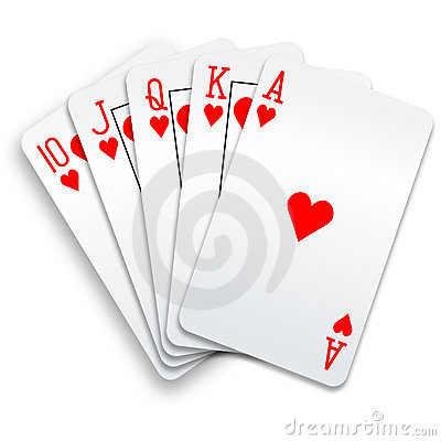 Hearts royal flush playing cards poker hand