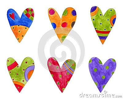 Hearts. Set of decorative elements