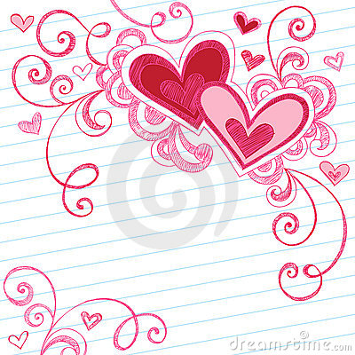 Free Hearts Sketchy Notebook Doodles On Lined Paper Stock Photography - 11112942