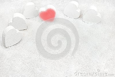 Hearts in the snow