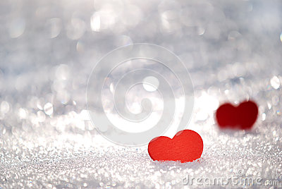 Hearts in snow