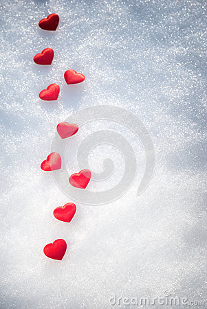 Hearts on snow