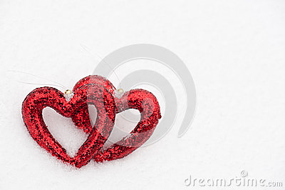 Hearts on snow