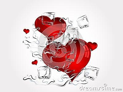 Hearts in splash