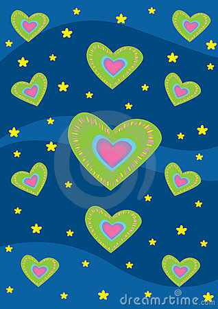 Hearts and stars background texture