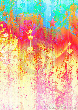 Hearts and stars on the grunge texture