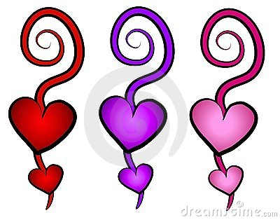 Hearts Swirls Clip Art Icons