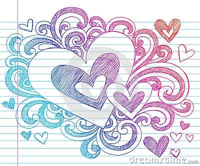 Hearts Valentine Love Sketchy Doodles