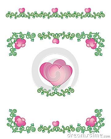 Hearts-vines borders