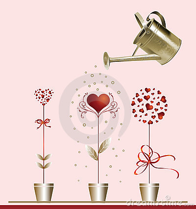 Hearts and watering can.