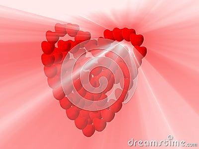 Hearts and white light shine