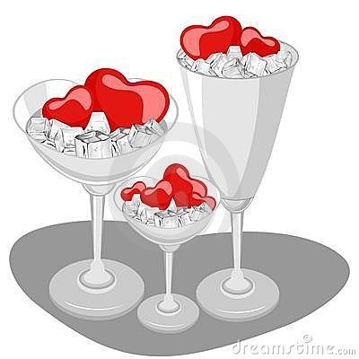 Hearts in a wine glass with ice cube.