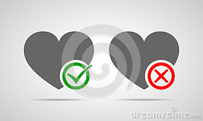 Hearts with Yes and No check marks. Vector illustration. Cartoon Illustration