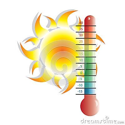 Heat alert illustration with sun