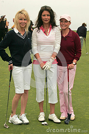 Catherine Zeta-Jones,Cheryl Ladd,Heather Locklear,Michael Douglas Editorial Stock Image