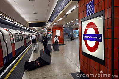 Heathrow underground station Editorial Stock Photo