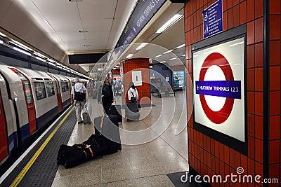 Heathrow underground station Editorial Stock Photo