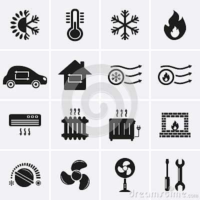 Free Heating And Cooling Icons Stock Photo - 41205030