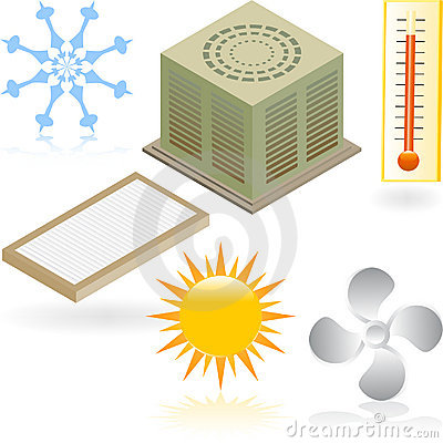 Free Heating And Cooling Icons Royalty Free Stock Photography - 9275047
