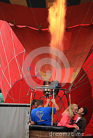 Heating hot air balloon Editorial Stock Photo