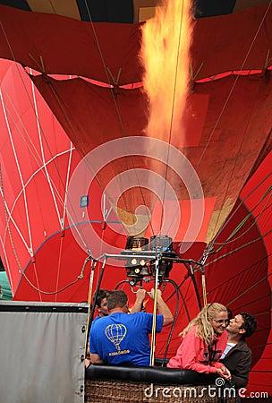 Heating hot air balloon Editorial Stock Photo