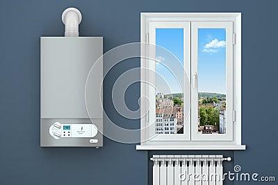 Heating house. Gas boiler, window, heating radiator.