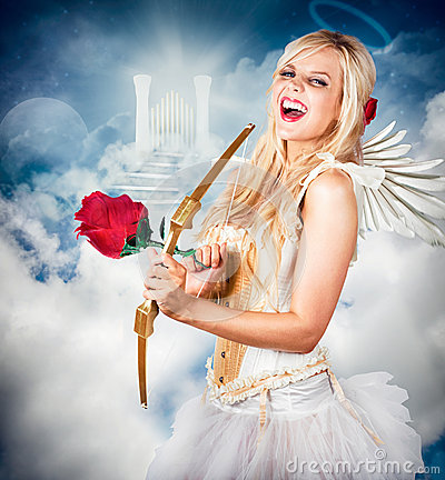 Free Heavenly Angel Of Love With Flower Arrow Royalty Free Stock Photo - 31333455