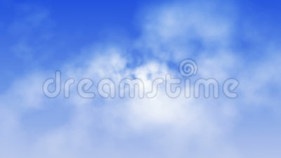 Heavenly Clouds Flyby (Loop). Fly through beautiful white volumetric clouds on blue sky. Seamless loop stock video footage