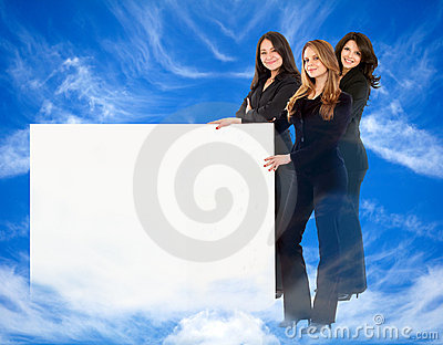 Heavenly women with banner