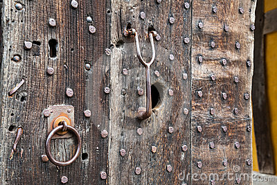 Heavily studded oak door at entrance to castle