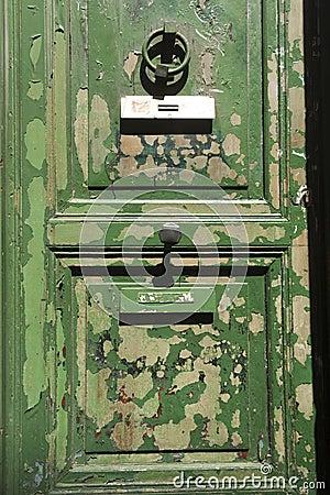 Grungy green door