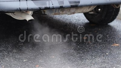 Heavy Air Pollution. Thick toxic smoke resulting of old engine car combustion, exhausted on the tailpipe is polluting the atmosphere. Suitable video for stock video