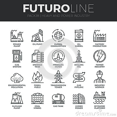 Free Heavy And Power Industry Futuro Line Icons Set Stock Images - 62806614