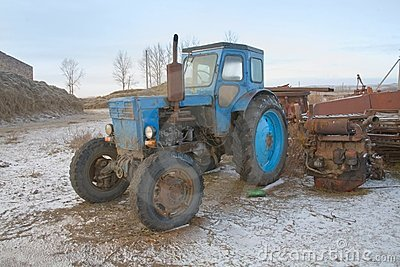 The heavy blue soviet tractor