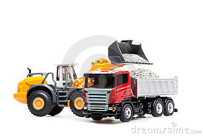 The heavy bulldozer and heavy truck
