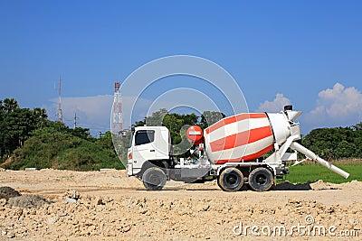 Heavy concrete truck on construction site