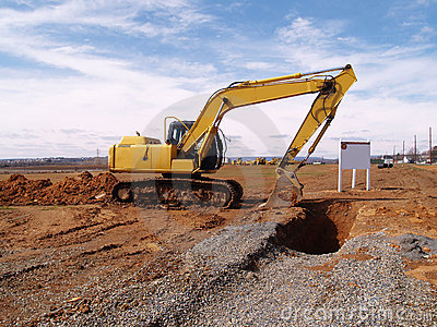 Heavy duty construction equipment by work site