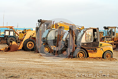 Heavy duty construction machinery on a construction site or roadworks