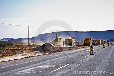 Heavy Duty Road Construction In Progress