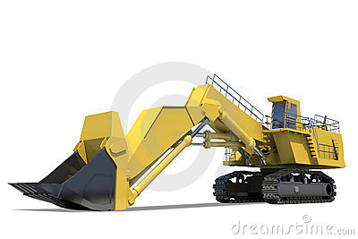 Heavy equipment. Excavator with bucket.