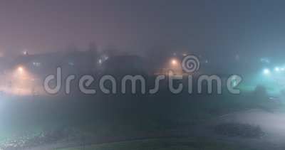 Heavy fog at night timelapse video Kerava Finland.  stock video