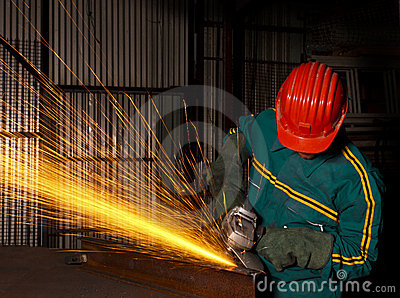 Heavy industry manual worker with grinder 03
