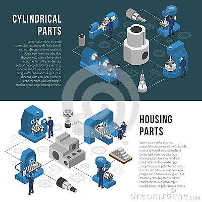 Heavy industry Production 2 Isometric Banners Vector Illustration