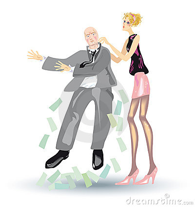 Heavy life of blonde, Girl shakes out a money