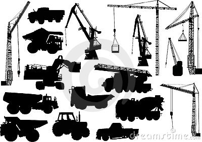 Heavy machinery and cranes silhouettes