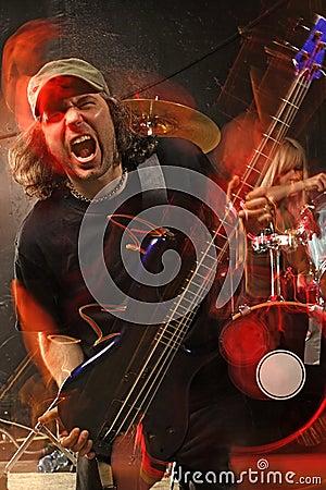 Heavy metal bass guitar player