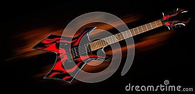 Heavy metal fire guitar